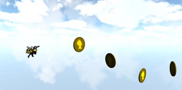 A coin collecting game where a person's tongue is represented by a flying bee trying to collect coins. This is an example training exercise for post-Stroke patients improving repetition accuracy.