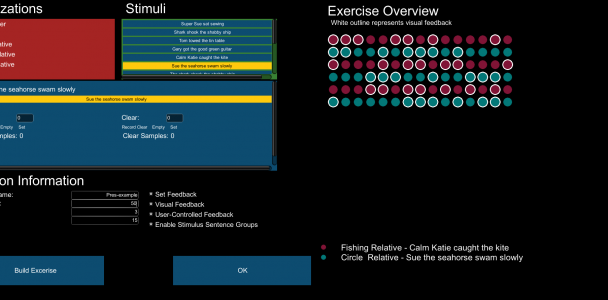 Clinicians interface for building clinical research speech exercises